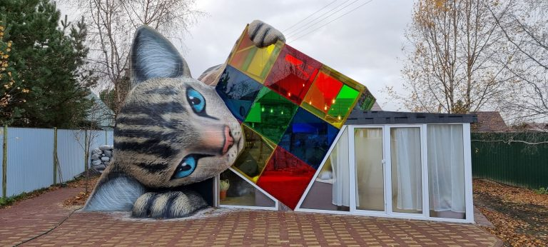 Кошка-дом 3d_здание 3д_здание